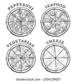 Vector illustration of 4 popular pizza types - pepperoni, seafood, vegetarian and cheese pizzas. Vintage hand drawn engraving style.