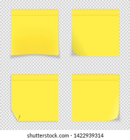 Vector illustration of 4 yellow sticky notes. Fully editable set of adhesive paper sheets with different folded corners. Isolated mockups of note pads for your different projects.