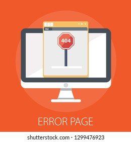 "Vector illustration of 404 error & page error found concept with ""error page"" oops and warning sign."