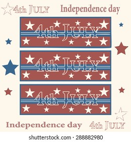 Vector illustration of 4th july - vintage style, banner, poster, card with star, typography sign