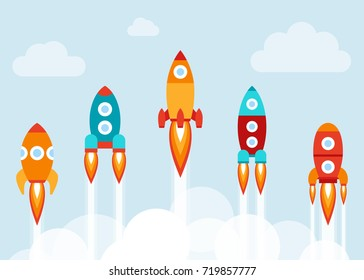 Vector illustration: 5 flat icons with varicolored rocket ships  isolated on light blue background with white clouds. Project start up and development process. Innovation product and management