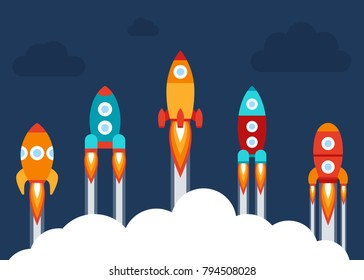 Vector illustration: 5 flat icons with variclolred rocket ships  isolated on dark blue background with clouds. Project start up and development process. Innovation product and management
