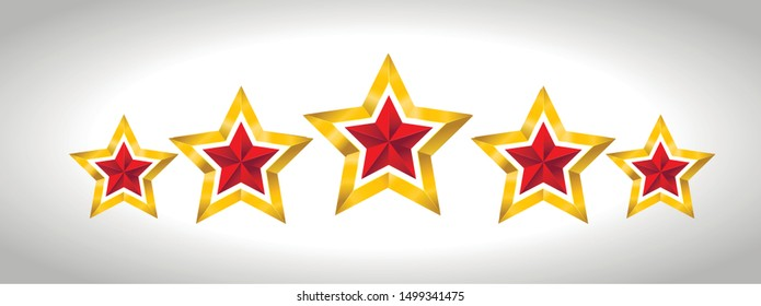 Vector illustration of 5 gold stars christmas new year holiday 3D