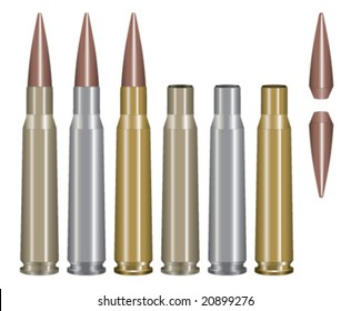 Vector illustration of a .50 caliber bullet in multiple metal styles, empty casings and bullet(s) by themselves