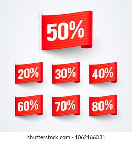 Vector Illustration 50% Off Sales Discount Label Flag Set