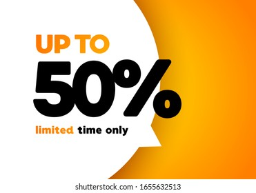 Vector illustration 50 percent mega discount sale banner. Bold letter in a big speech bubble.