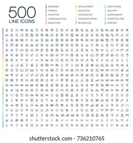 Vector illustration of 500 thin line business icons. Finance, shopping, communication technology, market, app develop, education, transport, healthcare, environment and security. Flat art symbols set