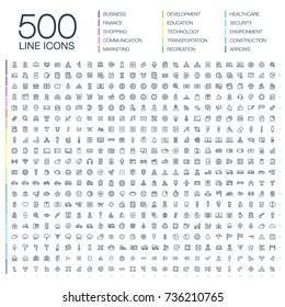 Vektorgrafik von 500 Thin-Line-Business-Symbolen. Finanzen, Einkauf, Kommunikationstechnologie, Markt, App-Entwicklung, Bildung, Verkehr, Gesundheit, Umwelt und Sicherheit. Zeichensatz für Flach-Kunstzeichen