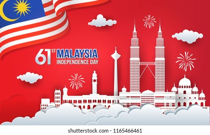 Vector illustration of 60 years malaysia Independence Day celebration with city skyline, malaysia flag and fireworks in paper cut and digital craft style