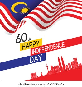 Vector illustration of 60th HAPPY INDEPENDENCE DAY and Malaysia flag