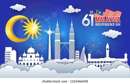 Vector illustration of 60th malaysia Independence Day celebration with city skyline, malaysia flag in paper cut style.