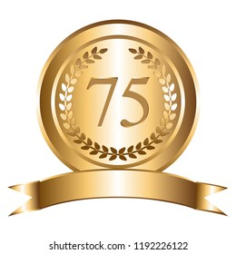 Vector illustration of 75th anniversary. Gold laurel wreath and ribbon