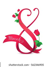 Vector illustration of 8 march womens day greeting in cartoon style with red ribbon, curved eight, pink roses and lettering text sign isolated on white background