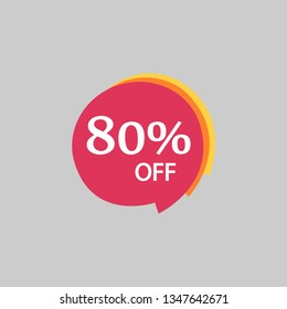 Vector illustration of 80% off, sticker discounted sale