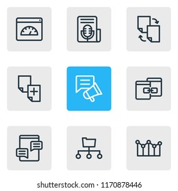 Vector illustration of 9 advertisement icons line style. Editable set of file sharing, directory submission, adwords campaign and other icon elements.