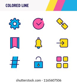 Vector illustration of 9 app icons colored line. Editable set of future, hashtag, cog and other icon elements.