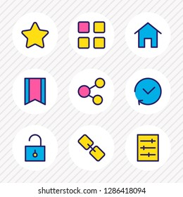 Vector illustration of 9 app icons colored line. Editable set of thumbnails, link, unlock and other icon elements.