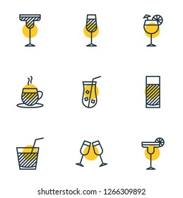 Vector illustration of 9 beverage icons line style. Editable set of water glass, martini, juice and other icon elements.