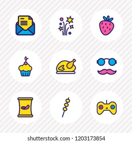 Vector illustration of 9 celebrate icons colored line. Editable set of marshmallow, petard, hipster and other icon elements.
