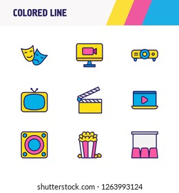 Vector illustration of 9 cinema icons colored line. Editable set of loudspeaker, popcorn, comedy with tragedy and other icon elements.