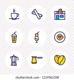 Vector illustration of 9 coffee icons colored line. Editable set of cold coffee, coffee house, percolator and other icon elements.