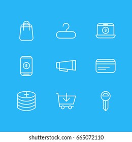 Vector Illustration Of 9 Commerce Icons. Editable Pack Of Clef, Rack, Advertising And Other Elements.