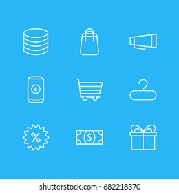 Vector Illustration Of 9 Commerce Icons. Editable Pack Of Shopping, Sales, Coins And Other Elements.