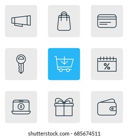 Vector Illustration Of 9 Commerce Icons. Editable Pack Of Clef, Payment, Advertising And Other Elements.