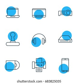 Vector Illustration Of 9 Device Icons. Editable Pack Of Game Controller, Photocopier, Smartphone And Other Elements.