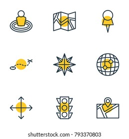 Vector illustration of 9 direction icons line style. Editable set of paper geography, path, marker and other elements.