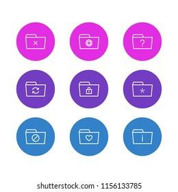 Vector illustration of 9 dossier icons line style. Editable set of info, important, favorite and other icon elements.