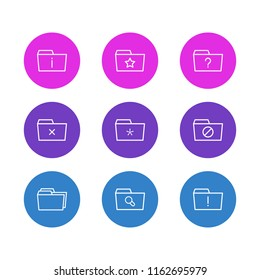 Vector illustration of 9 dossier icons line style. Editable set of significant, missed, dossier and other icon elements.