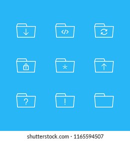 Vector illustration of 9 dossier icons line style. Editable set of locked, refresh, folder and other icon elements.