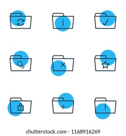 Vector illustration of 9 dossier icons line style. Editable set of info, add, starred and other icon elements.