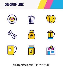 Vector illustration of 9 drink icons colored line. Editable set of percolator, coffee love, coffee mug and other icon elements.
