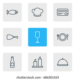 Vector Illustration Of 9 Eating Icons. Editable Pack Of Alcohol, Card, Tray And Other Elements.