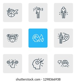 Vector illustration of 9 emoticon icons line style. Editable set of passion, cognitive process, pessimistic and other icon elements.