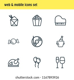 Vector illustration of 9 event icons line style. Editable set of dj music, turkey, candy icon elements.
