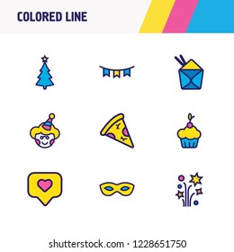 Vector illustration of 9 event icons colored line. Editable set of petard, chinese food, tag with heart and other icon elements.