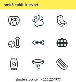 Vector illustration of 9 fauna icons line style. Editable set of fishbowl, paw, comb and other icon elements.