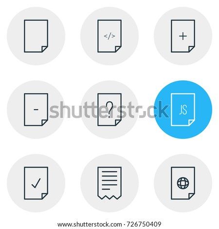 Vector Illustration 9 File Icons Editable Stock Vector Royalty Free