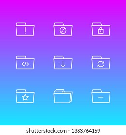 Vector illustration of 9 folder icons line style. Editable set of starred, dossier, closed and other icon elements.