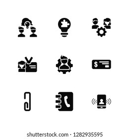 Vector Illustration Of 9 Icons. Editable Pack Share, Solution, Clip, Check, Man, Calling, Phonebook, ID, Resource
