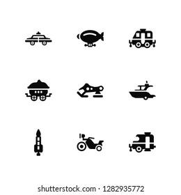 Vector Illustration Of 9 Icons. Editable Pack Police car, Zeppelin, Rocket, Yatch, Snowmobile, Caravan, Motorbike, Wagon, Caravan