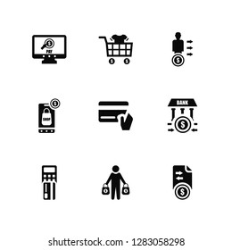 Vector Illustration Of 9 Icons. Editable Pack Pay per click, Buy, Point of service, Bank, Cit card, Transfer, Buyer, Online shop, Seller