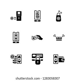 Vector Illustration Of 9 Icons. Editable Pack Cash, Payment method, Money, Cit card, Wallet, Purse