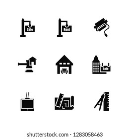 Vector Illustration Of 9 Icons. Editable Pack For sale, rent, Tv, Sale, Garage, Measure, print, Juridical, Paint roll