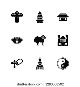 Vector Illustration Of 9 Icons. Editable Pack Cross, Taoism, Monastery, Lamb, Church, God, Shinto