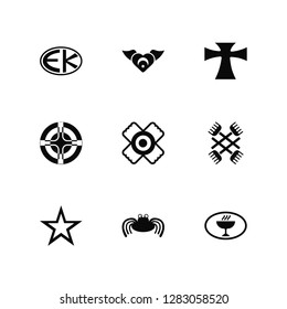 Vector Illustration Of 9 Icons. Editable Pack Eckankar, Sufism, Bahá í, Gnosticism, Native American Sun, Unitarian Universalism, Pastafarianism, Paganism, Greek Cross