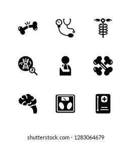 Vector Illustration Of 9 Icons. Editable Pack Bone, Blood pressure, Brain, Bones, Broken arm, Medical history, Scale, Dna, Medicine